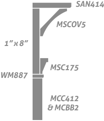 The Metro Collection: Casing 1″x8″, MCOV5 Cove, SAN414 Sanitary Casing, MSC175 Solid Crown, WM887 Stop, MCC412 Casing, MCBB2 Back Band